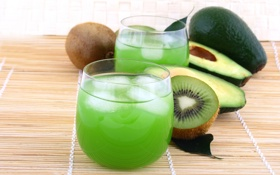 Обои лед, киви, сок, стаканы, напиток, фрукты, авокадо