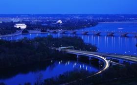 Обои пейзаж, мост, природа, вечер