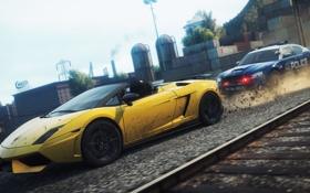 Картинка город, гонка, погоня, need for speed most wanted 2, Dodge Charger Pursuit, Lamborghini Gallardo Spyder ...
