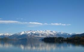 Картинка облака, небо, рябь, лес, озеро, холмы, горы