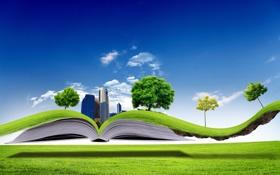 Обои деревья, креатив, газон, здания, книга