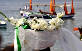 Обои цветы, праздник, корзина, лодки, Бразилия, Сальвадор, штат Баия