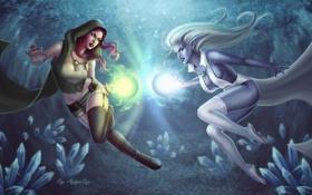 Обои магия, Девушки, кристаллы, схватка