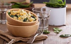 Обои горох, изюм, шпинат, Салат с рисом