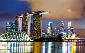 Обои ночь, мост, огни, небоскребы, Сингапур, набережная, Marina Bay Sands