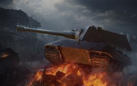 Обои огонь, Германия, танк, танки, Germany, WoT, Мир танков