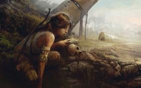 Картинка девушка, череп, Tomb Raider, Расхитительница гробниц