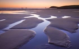 Обои песок, закат, берег, отлив, море, лужи