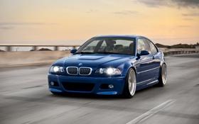 Обои синий, бмв, скорость, BMW, blue, E46