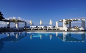 Обои зонты, Notio Aigaio, лето, басейн, вид, курорт, Hotel Agali Houses Santorini
