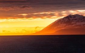 Обои море, снег, рассвет, гора