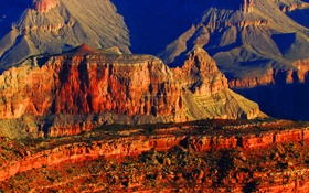 Обои США, Аризона, закат, скалы, Grand Canyon National Park, горы, каньон