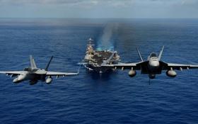 Обои USA, two fighters, carrier, aircraft, Navy