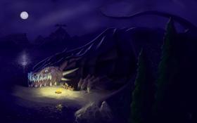 Картинка лес, девушка, горы, ночь, озеро, луна, драконы
