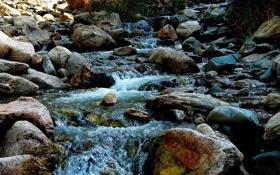 Обои вода, природа, ручей, камни, течение, красиво, water