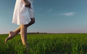 Картинка зелень, небо, трава, девушка, облака, фон, widescreen