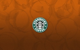 Картинка бумага, эмблема, Starbucks, разводы от чашек
