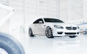 Обои белый, бмв, BMW, ангар, white, самолёт, 6 Series