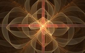 Обои разводья, прямые линии, фон, свет, лепестки, фракталы