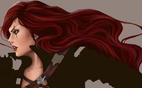 Картинка League of Legends, девушка, katarina, профиль, лицо, красные волосы, арт