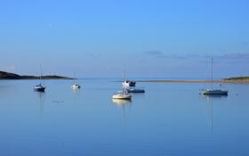 Картинка море, небо, лодка, утро, яхта, гавань