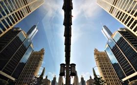Обои город, отражение, небоскребы, Чикаго, США, штат Иллиноис