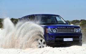 Картинка песок, небо, синий, Спорт, джип, внедорожник, Land Rover
