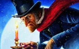 Обои Hat, Carol, A Christmas Carol, Ebenezer, Candle, Christmas, Scrooge