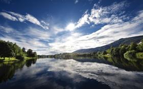 Обои реки, река, солнце, норвегия, вода, Norway, деревья
