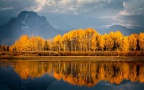 Картинка осень, деревья, природа, горы, отражение, озеро