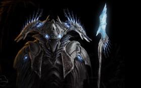 Обои арт, посох, черный фон, protoss, StarCraft