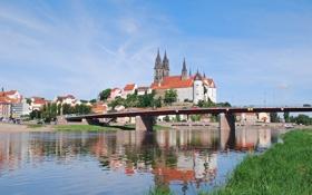 Картинка река, Мейсен, небо, Саксония, замок, Эльба, Германия
