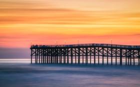 Обои море, закат, Калифорния, пирс, Сан-Диего, Соединенные Штаты, оранжевое небо