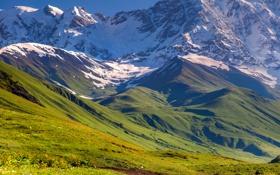 Картинка небо, трава, снег, горы, landscape, nature, луга