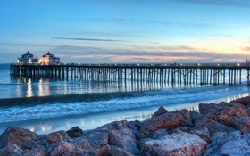 Обои пляж, мост, океан, берег, вечер