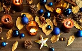 Обои листья, звезды, шарики, игрушки, палочки, свечи, Новый Год