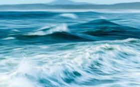 Обои море, волны, небо, горы, hdr