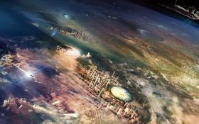 Обои круги, города, планета, высота, корабли