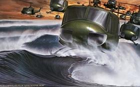 Обои вода, брызги, вертолет, apocalypse now