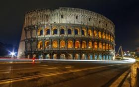 Картинка дорога, свет, ночь, город, огни, выдержка, Рим