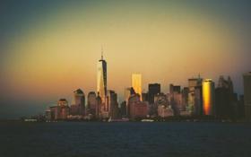 Обои небо, закат, Нью-Йорк, горизонт, Манхэттен, One World Trade Center, Соединенные Штаты