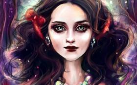 Картинка девушка, лицо, волосы, Белоснежка