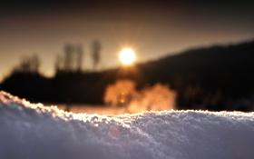 Обои зима, солнце, снег, утро, сугроб, холодно, испарение