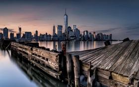 Обои ночь, город, New York City, Hudson River