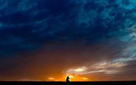Картинка небо, пейзаж, ночь, силуэт
