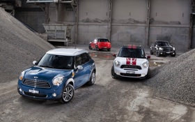 Картинка Красный, Черный, Синий, Белый, Машина, Mini Cooper, Четыре