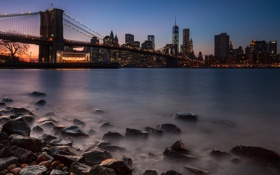 Картинка night, new york city, dusk, cityscape, lee filters, dumbo