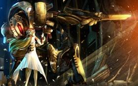 Картинка девушка, цветы, оружие, робот, аниме, лепестки, арт