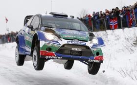 Обои Ford, Зима, Снег, Полет, Форд, Капот, Фары