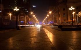 Картинка ночь, огни, надписи, метро, Город, фонари, бульвар